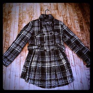 BCX Women's Juniors Pea Coat Belted Plaid - XL